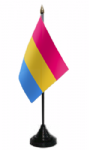 Pansexual Pride Desk / Table Flag with plastic stand and base